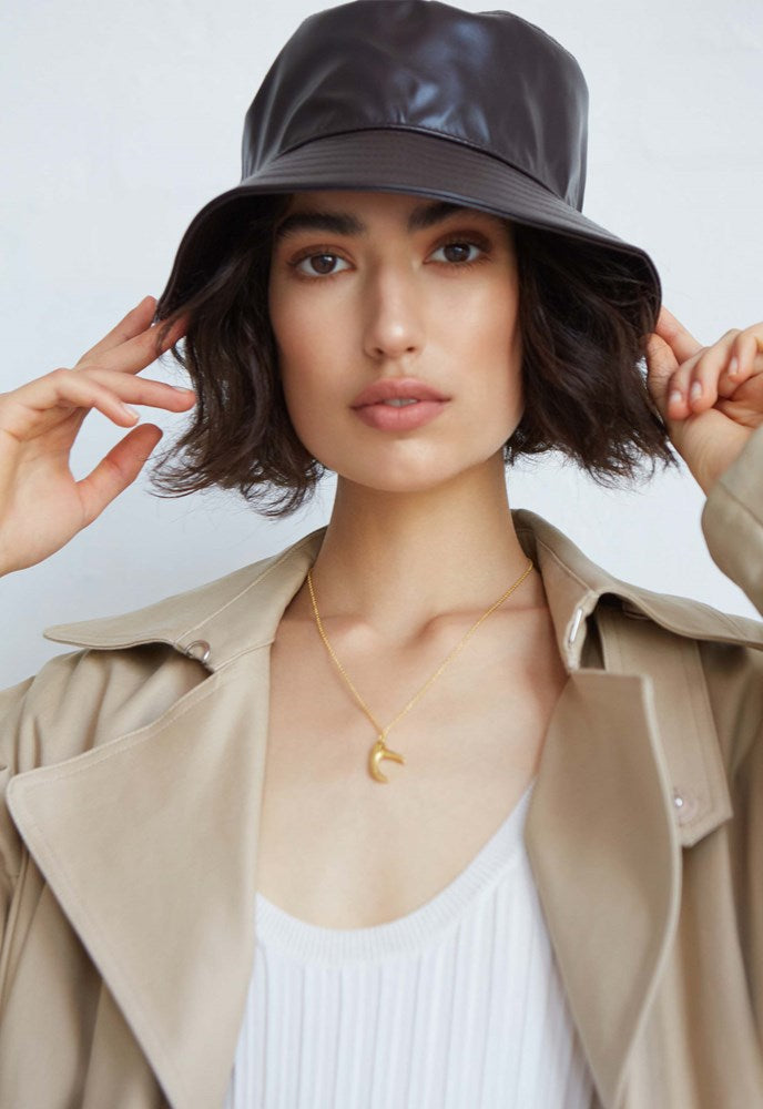 Avenue Lottie Bucket Hat in Chocolate Faux Leather from The New Trend
