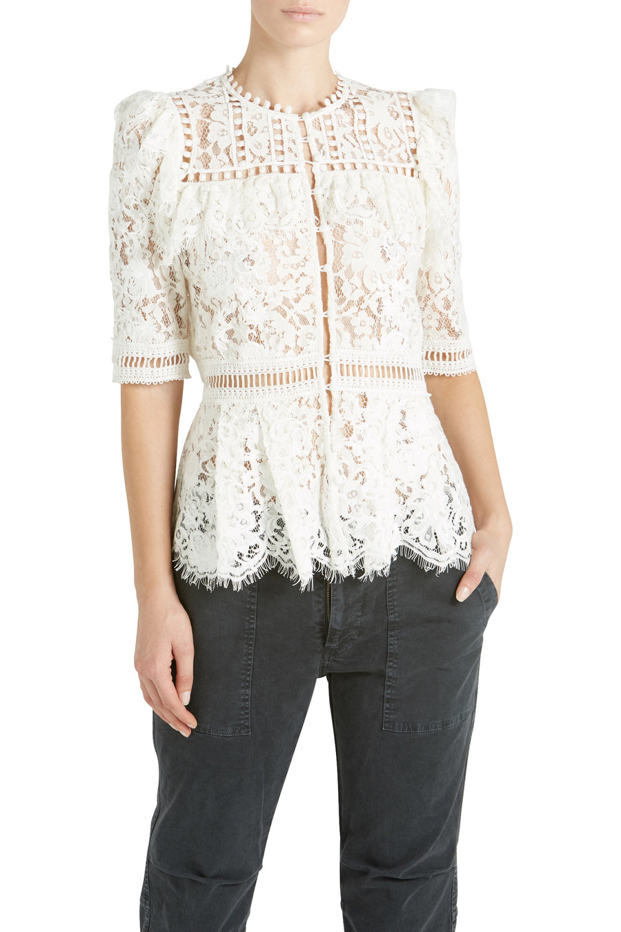 3/4 SLV LACE BIB BLOUSE