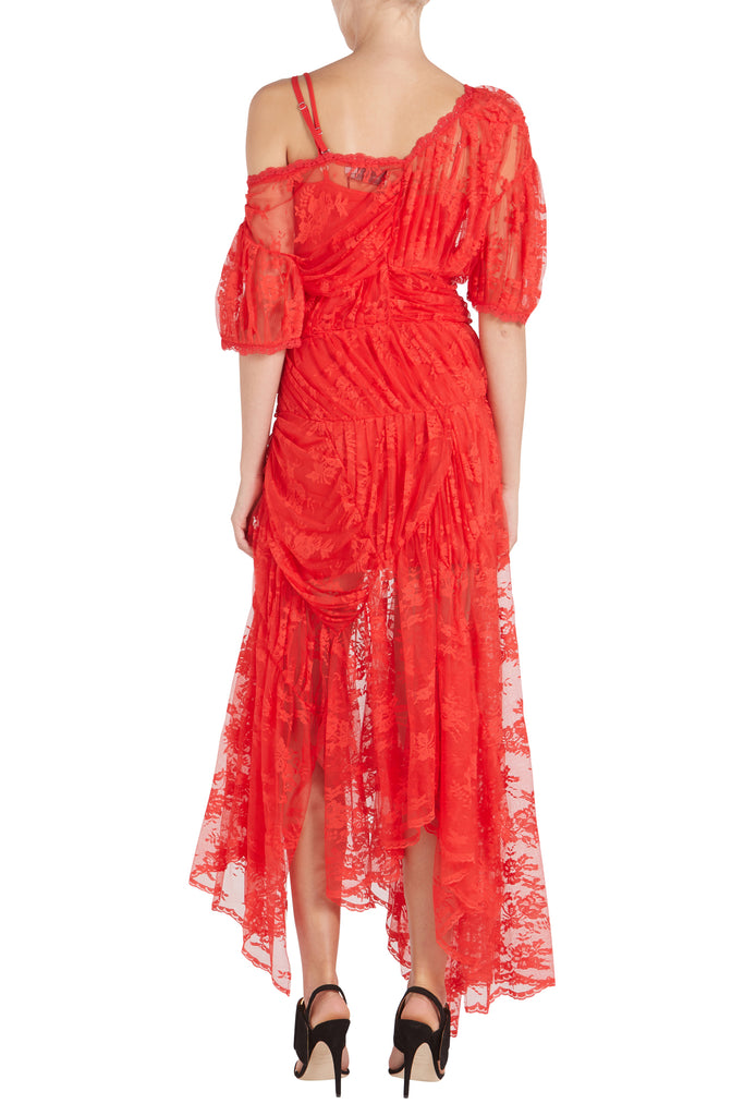 TESSIE LACE DRESS W/ RED SLIP
