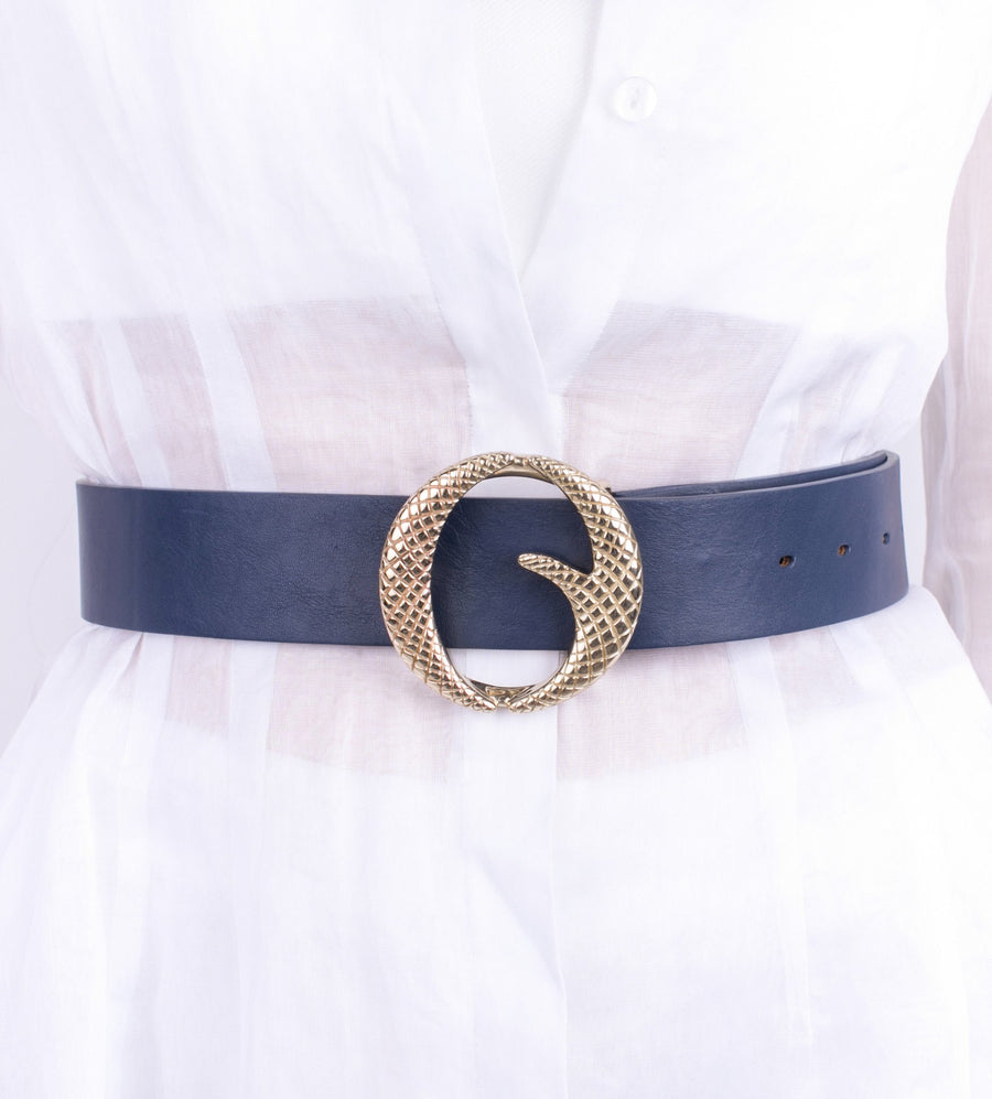 Clinch Belts Brass Buckle Belt in Navy from The New Trend