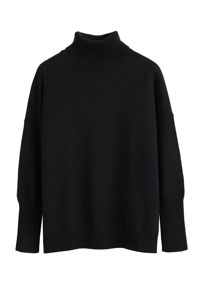Chinti & Parker The Relaxed Polo Cashmere Sweater in Black from The New Trend