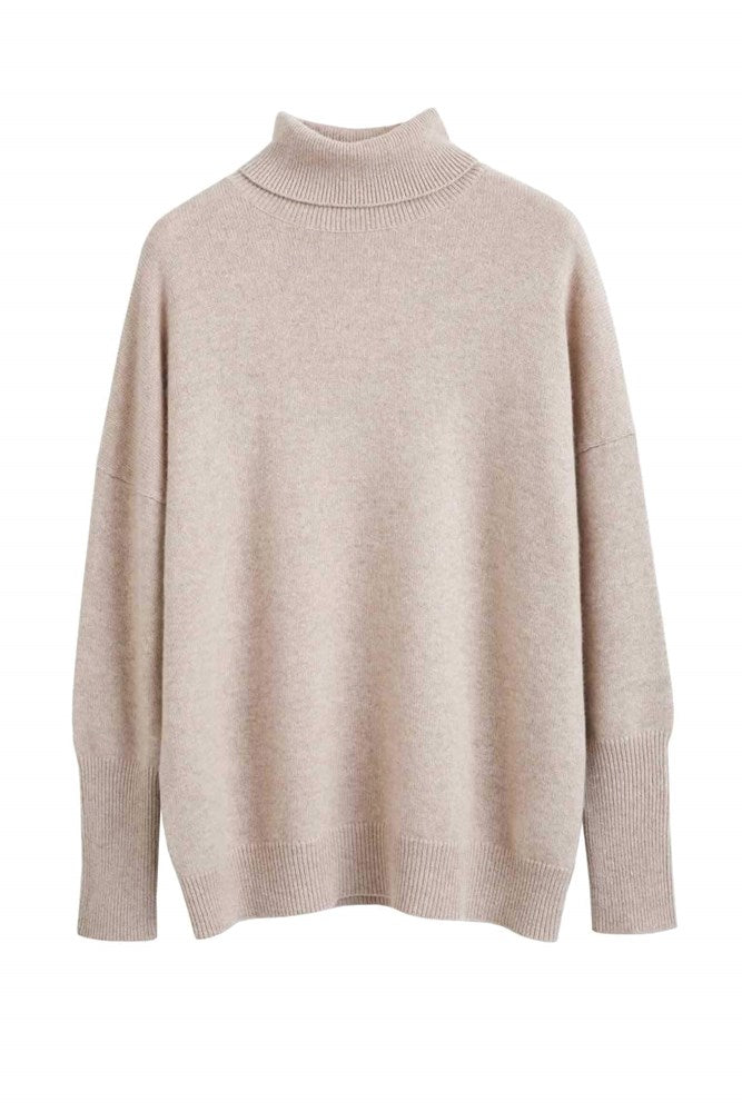 Chinti & Parker The Relaxed Polo Cashmere Sweater in Oatmeal from The New Trend