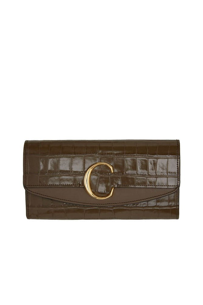 Chloé C Long Wallet in Army Green Croc from The New Trend
