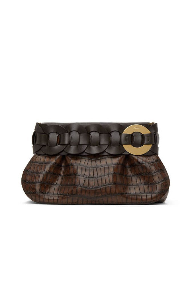 Chloé Darryl Clutch in Dark Ebony from The New Trend