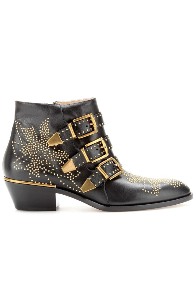 Chloe Suzanna Ankle Boot in Black and Gold from The New Trend