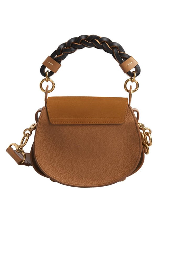Chloe Tess Bag Small with Braided Handle in Autumnal Brown from The New Trend