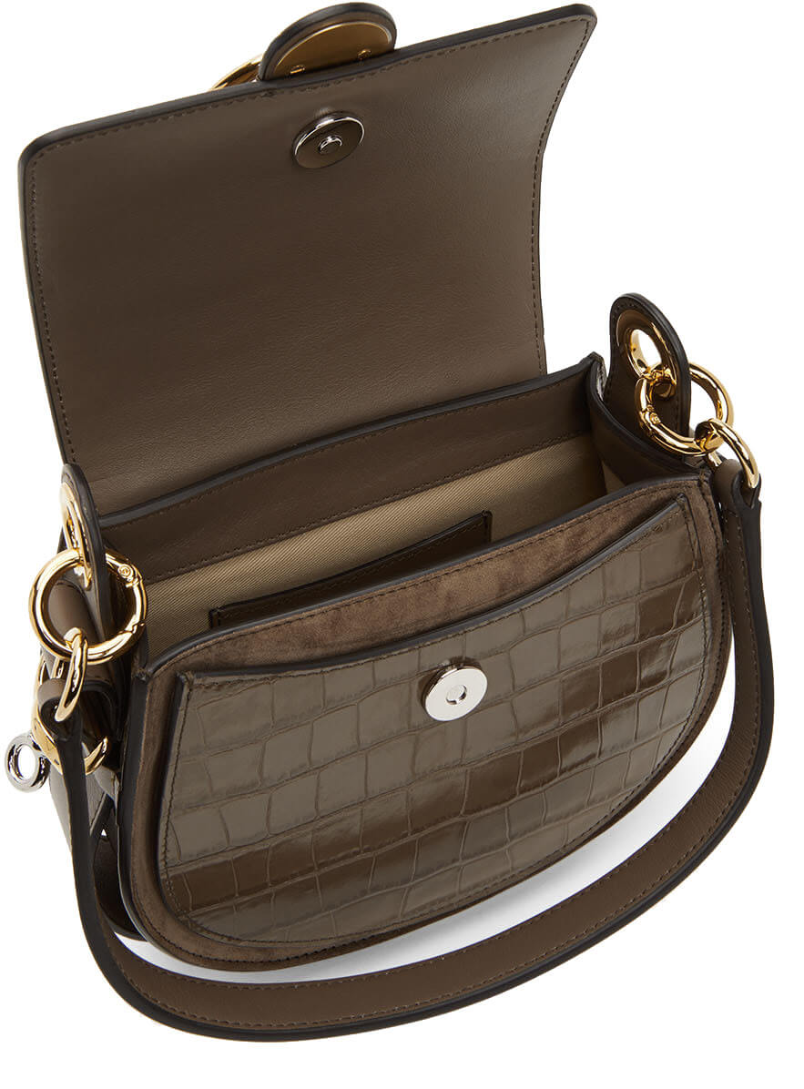 Chloe Tess Bag Small in Army Green Croc from The New Trend