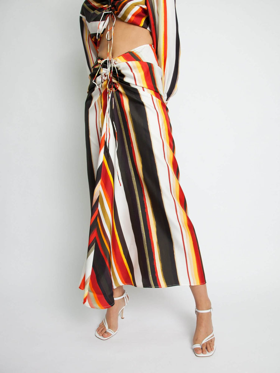 Christopher Esber Ruched Disconnected Striped Shirt Dress from The New Trend