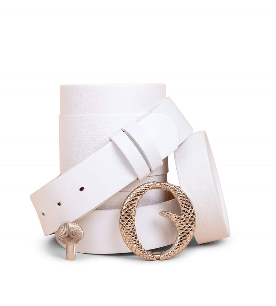 Clinch Belts Brass Buckle Belt White from The New Trend