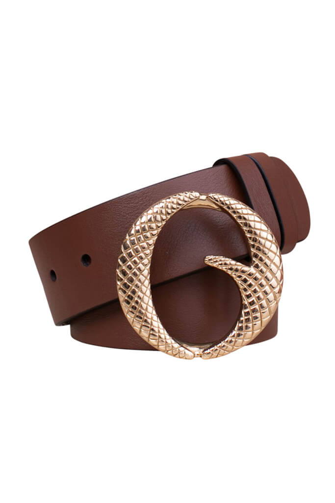 Clinch Classic Brass Buckle Belt in Chocolate Brown from The New Trend