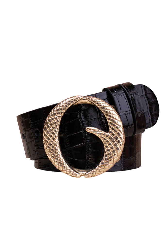 Clinch Classic Brass Buckle Belt in Black Croc from The New Trend