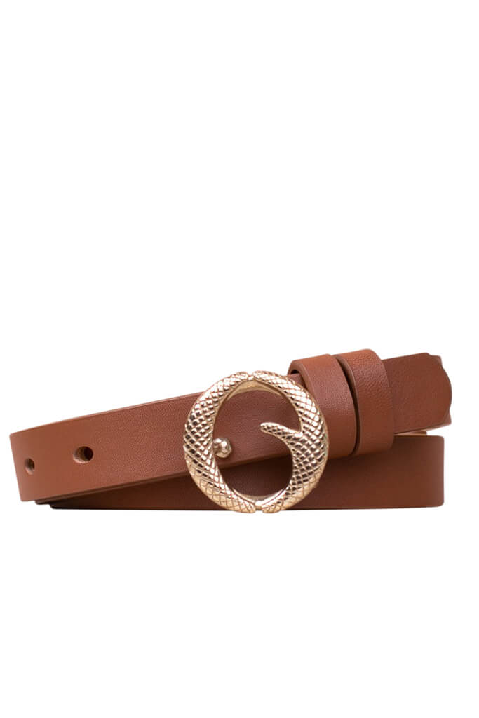 Clinch Mini Brass Buckle Belt in Tan from The New Trend
