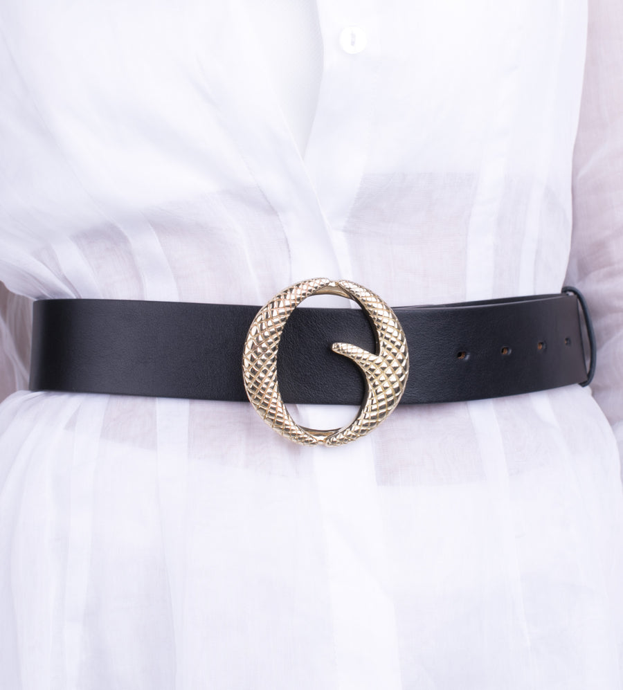 Clinch Belt Brass Belt in Black from The New Trend