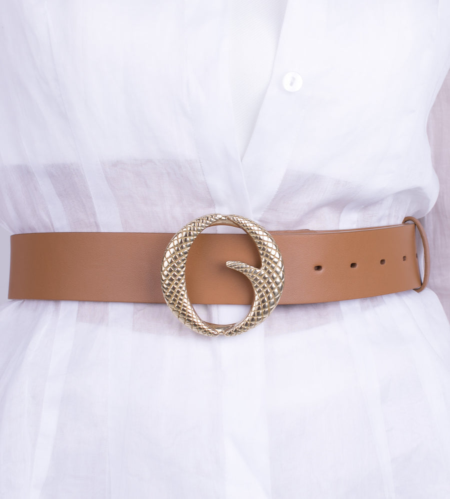Clinch Belts Brass Buckle Belt Light Tan from The New Trend