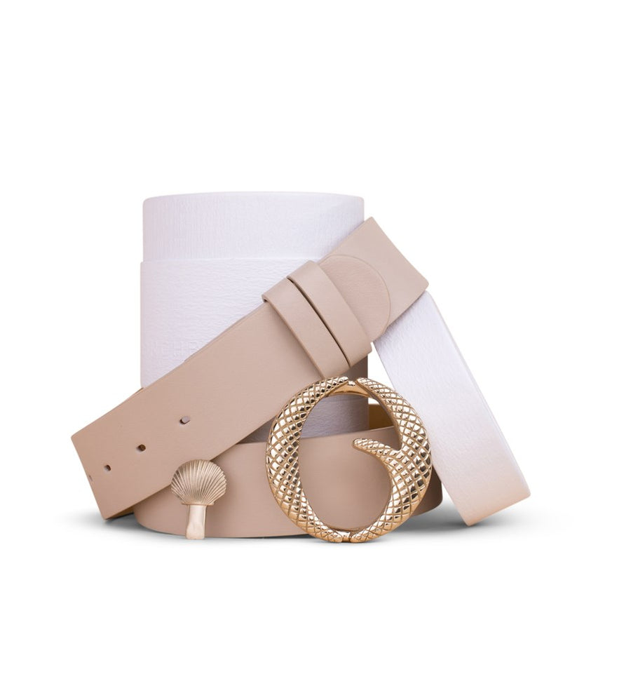 Clinch Belts Brass Buckle Belt in Cream from The New Trend