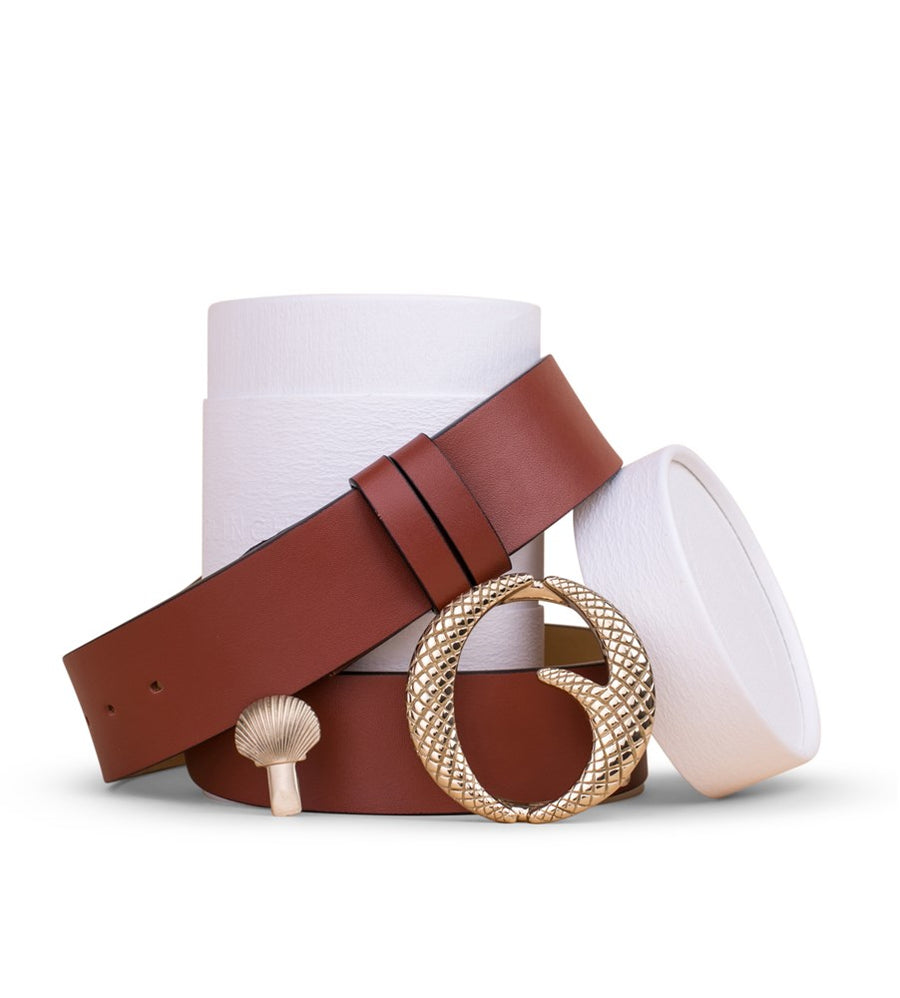 Clinch Belts Brass Buckle Belt Tan from The New Trend