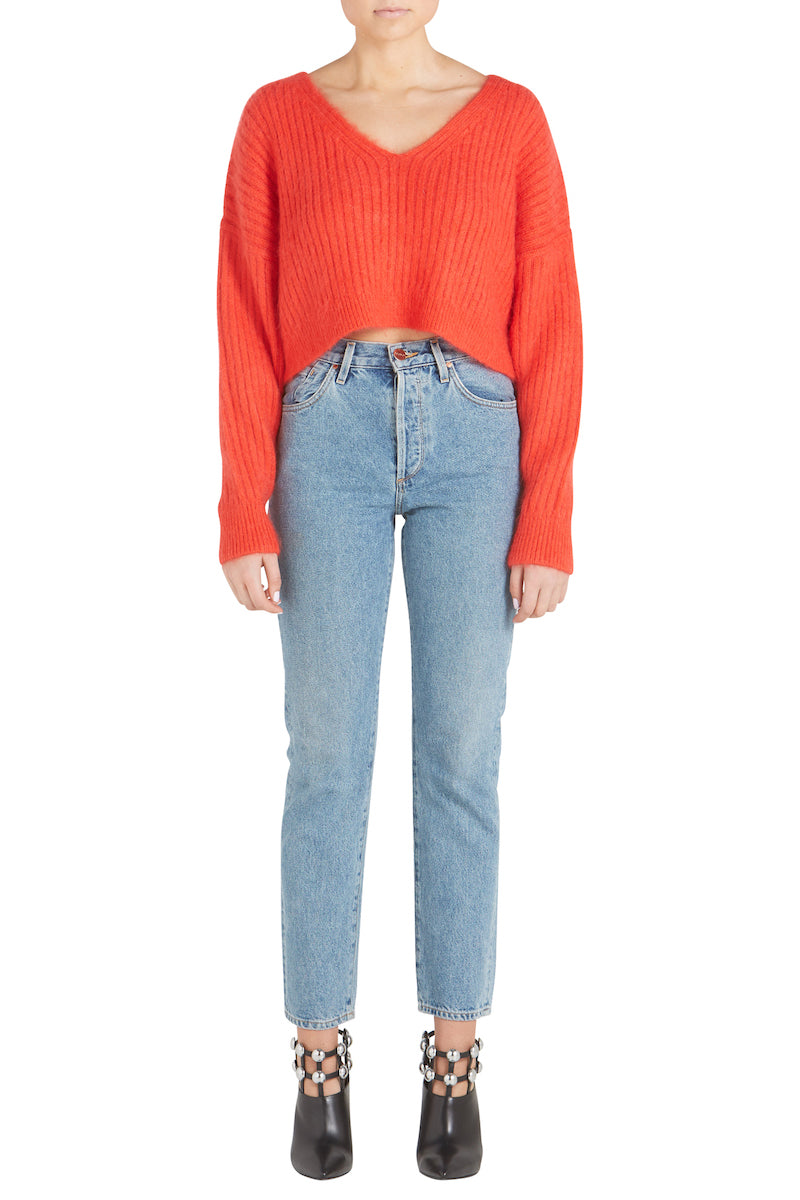 OVERSIZED RIBBED MOHAIR CROPPED PULLOVER