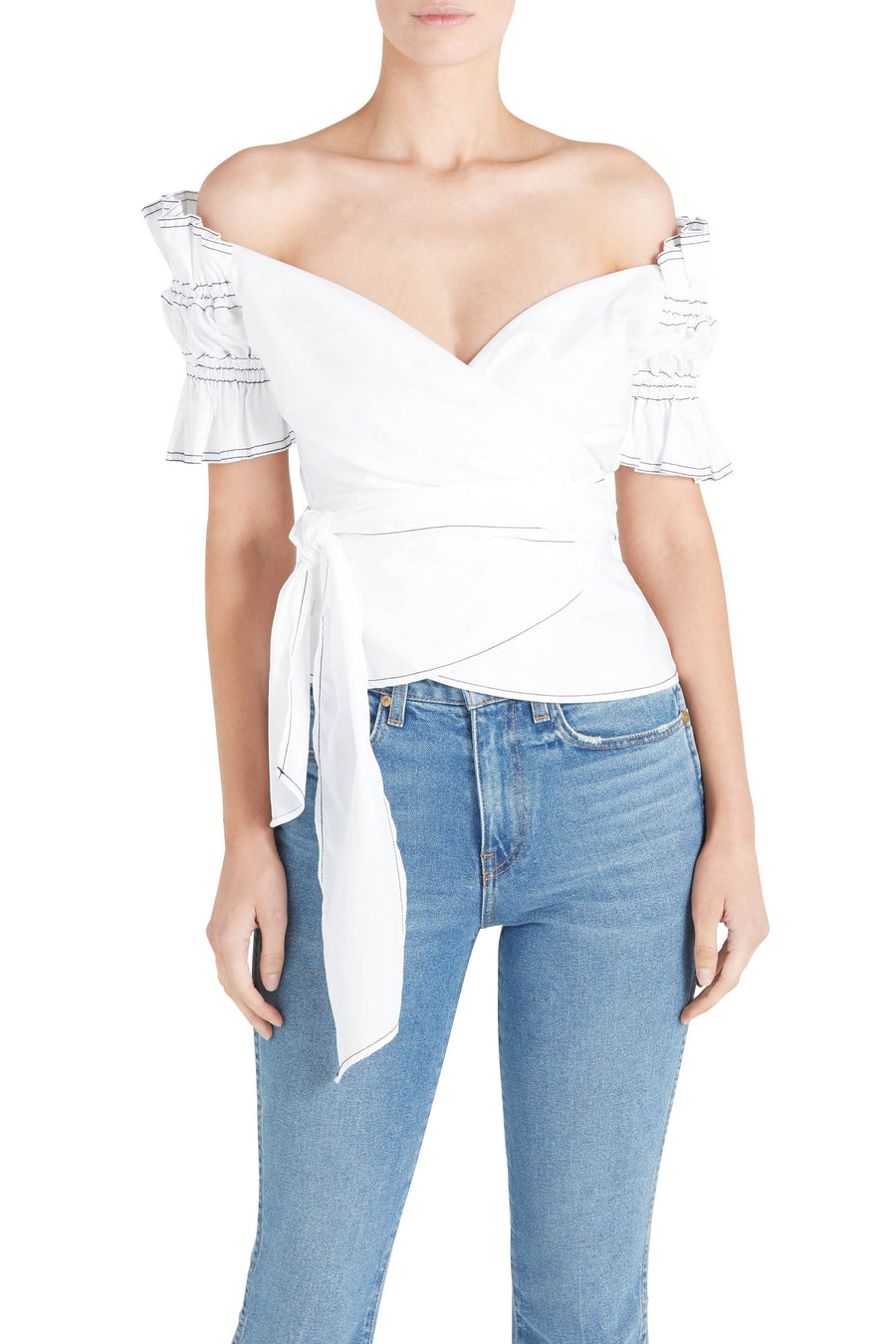 ROUCHED COTTON TOP
