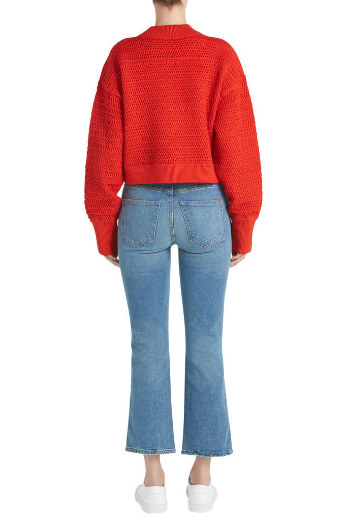 FAUX PLAIT SILK CROPPED PULLOVER W YOKE