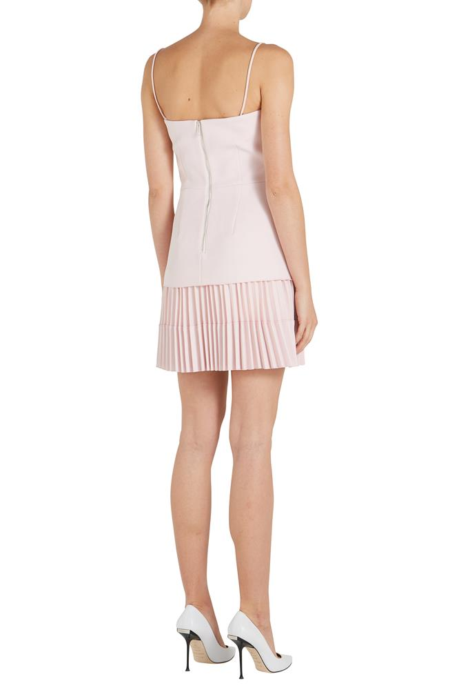 BONDED CREPE ELLIPSE PLEAT MINI DRESS
