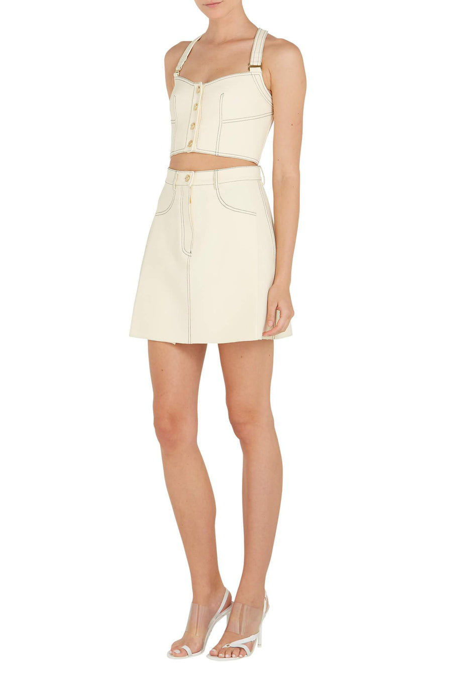 Dion Lee Bonded Crepe Stitch Mini Skirt in Butter from The New Trend