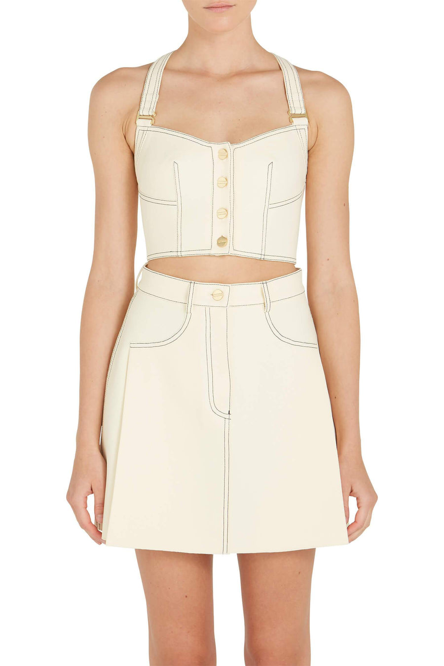 Dion Lee Bonded Crepe Rivet Bustier in Butter from The New Trend