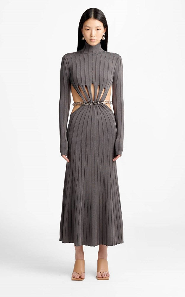 Dion Lee Chain Link LS Dress in Smoke from The New Trend