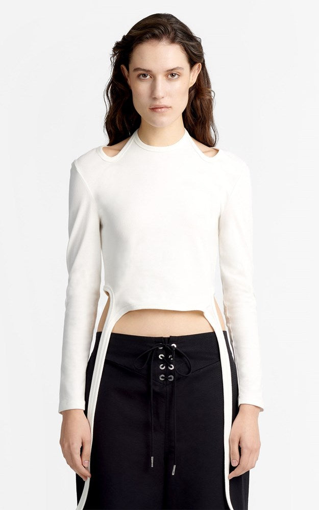 Dion Lee Double Tie Jersey Long Sleeve Top in Ivory from The New Trend