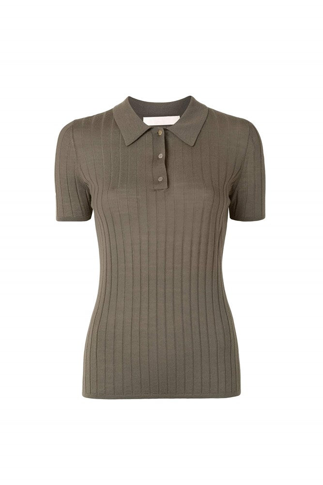 Dion Lee Merino Polo Top in Slate Green from The New Trend