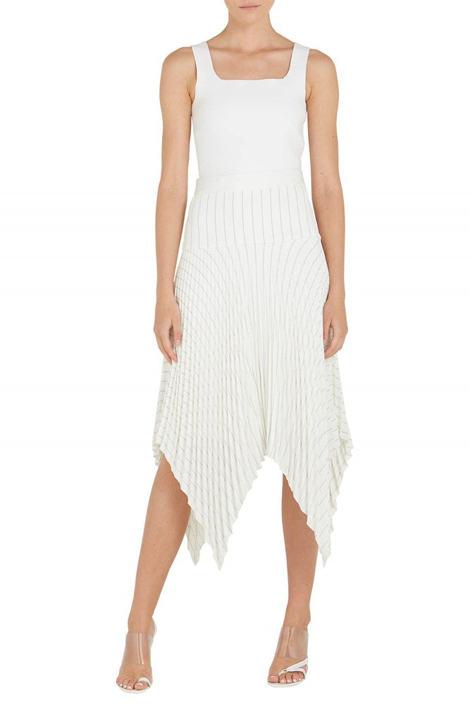 Dion Lee Pinstripe Tailored Pleat Skirt from The New Trend