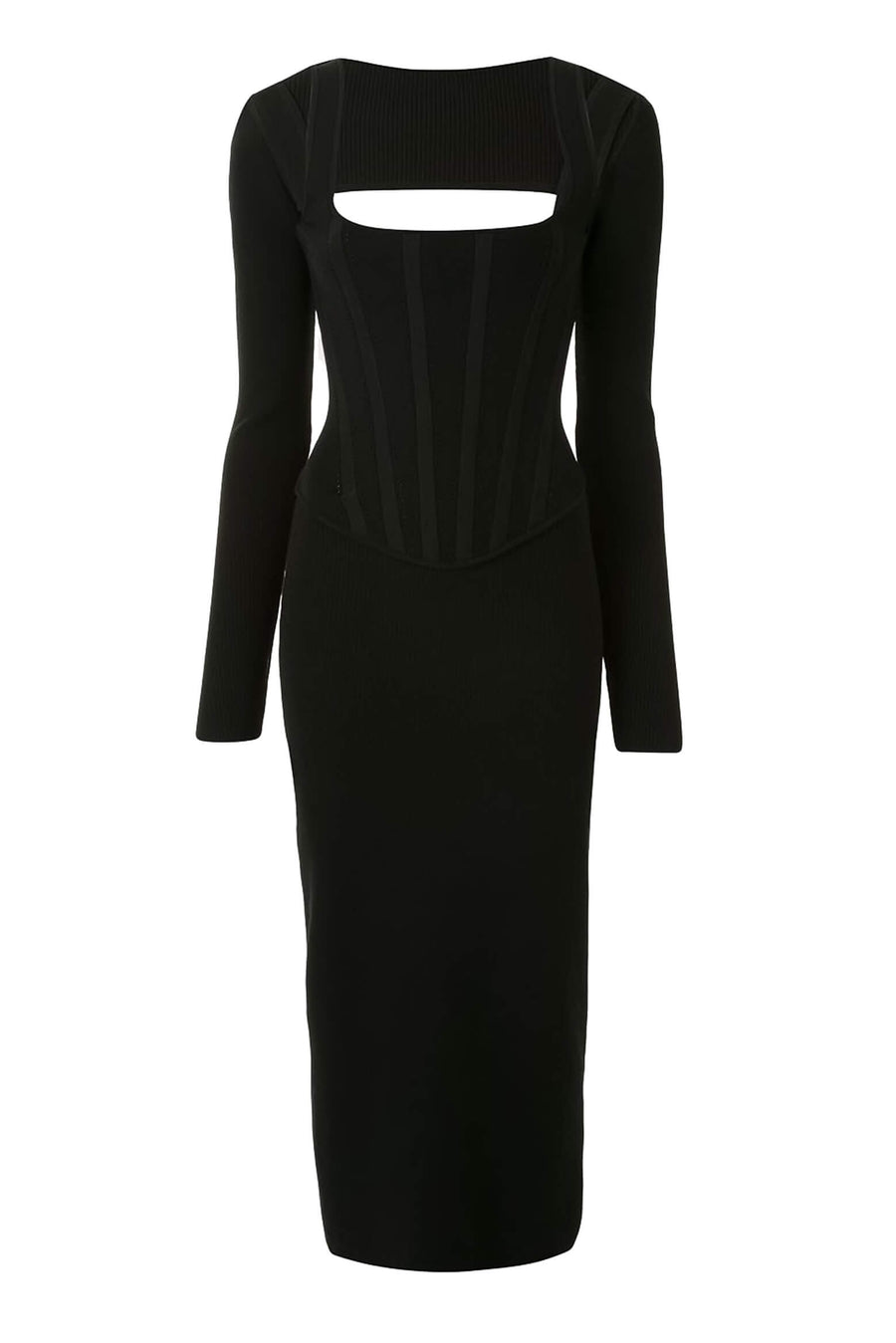 Dion Lee Pointelle Corset Dress in Black from The New Trend