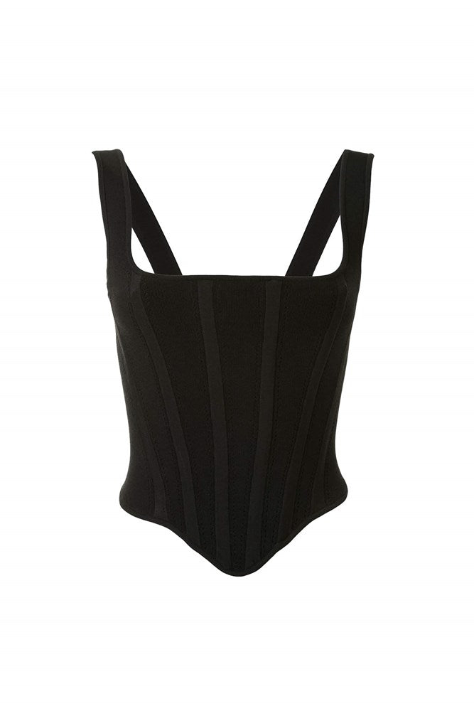 Dion Lee Pointelle Corset Top in Black from The New Trend
