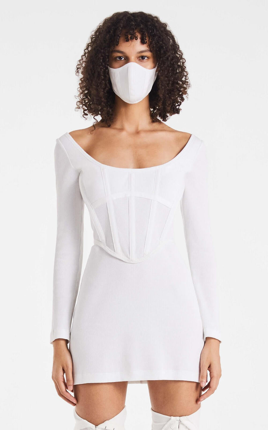 Dion Lee Rib Corset Mini Dress Ivory from The New Trend