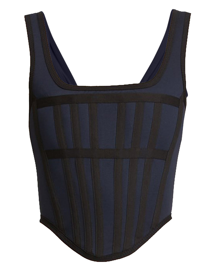 Dion Lee Navy Sheer Jersey Corset from The New Trend