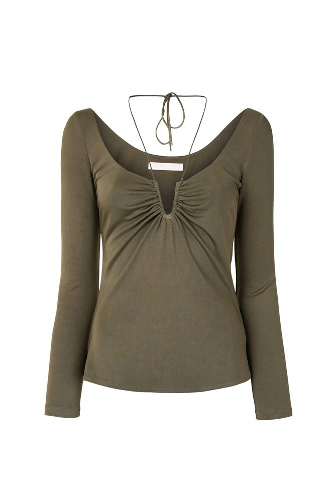Dion Lee Silk Jersey Wire Top in Slate Green from The New Trend