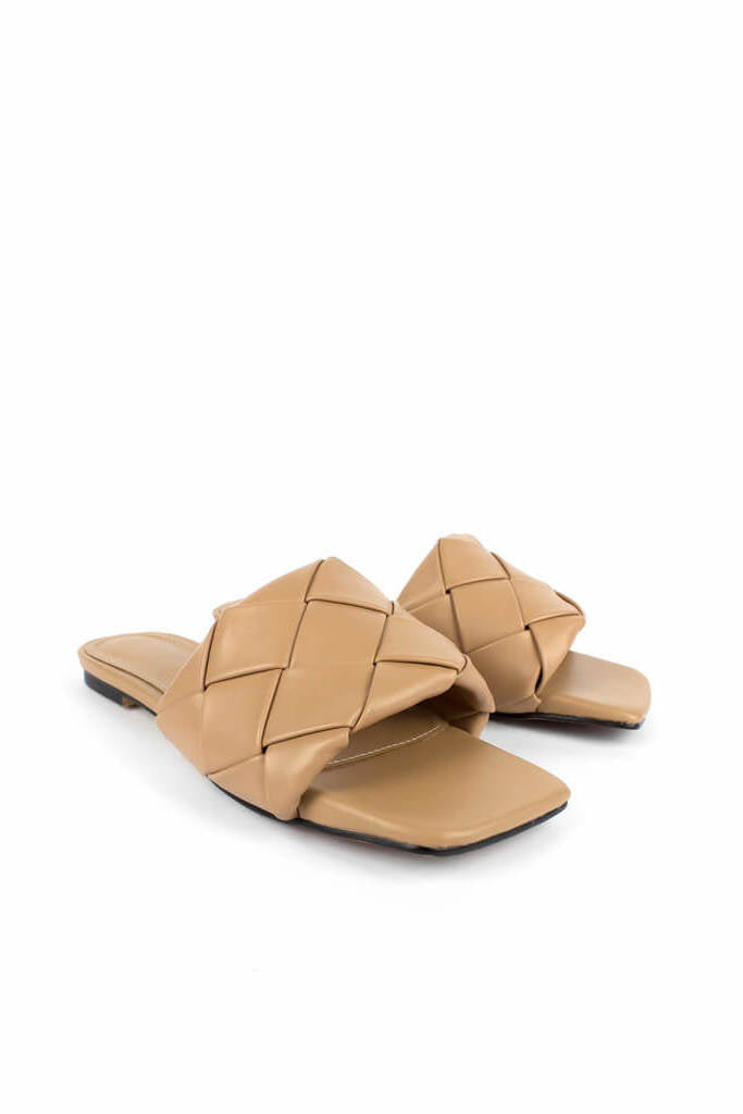 Ducie London Amalia Weave Slide in Camel from The New Trend