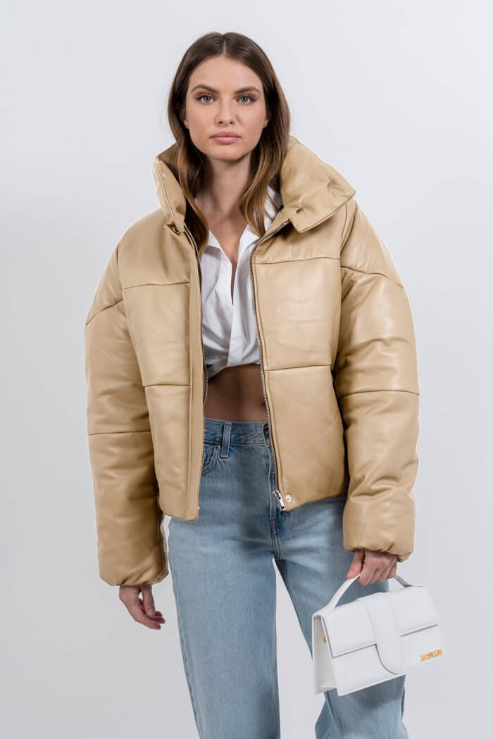 Ducie London Exclusive Talia Leather Puffer Jacket in Beige from The New Trend