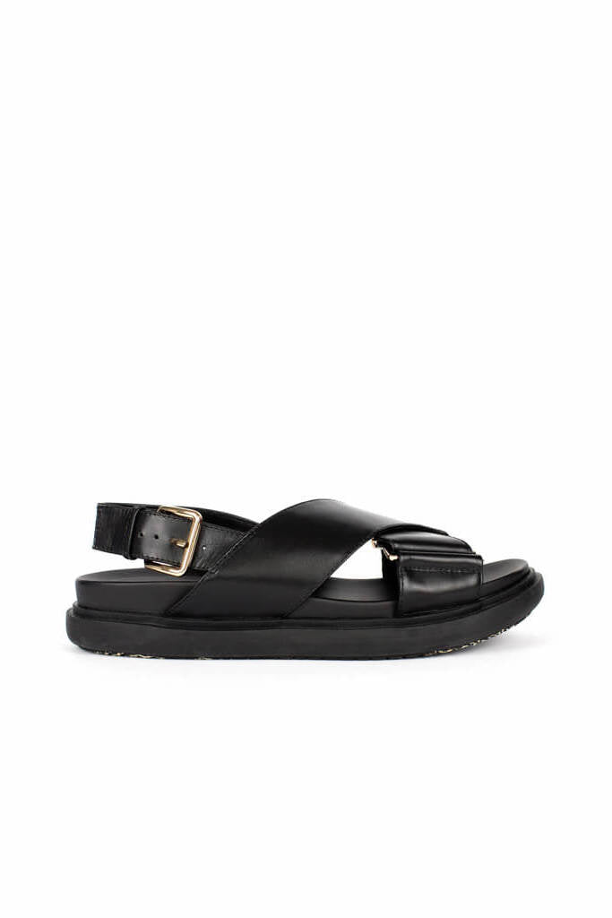 Ducie London Carrie Leather Crossover Sandal in Black from The New Trend