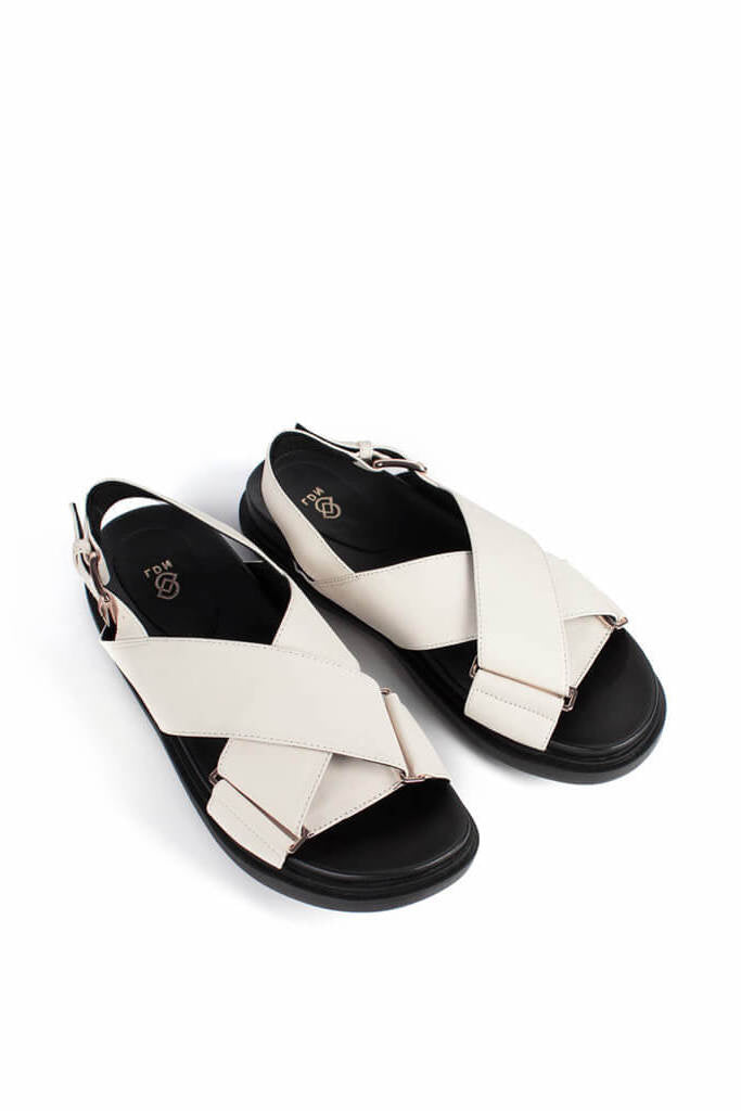 Ducie London Carrie Leather Crossover Sandal in Stone from The New Trend