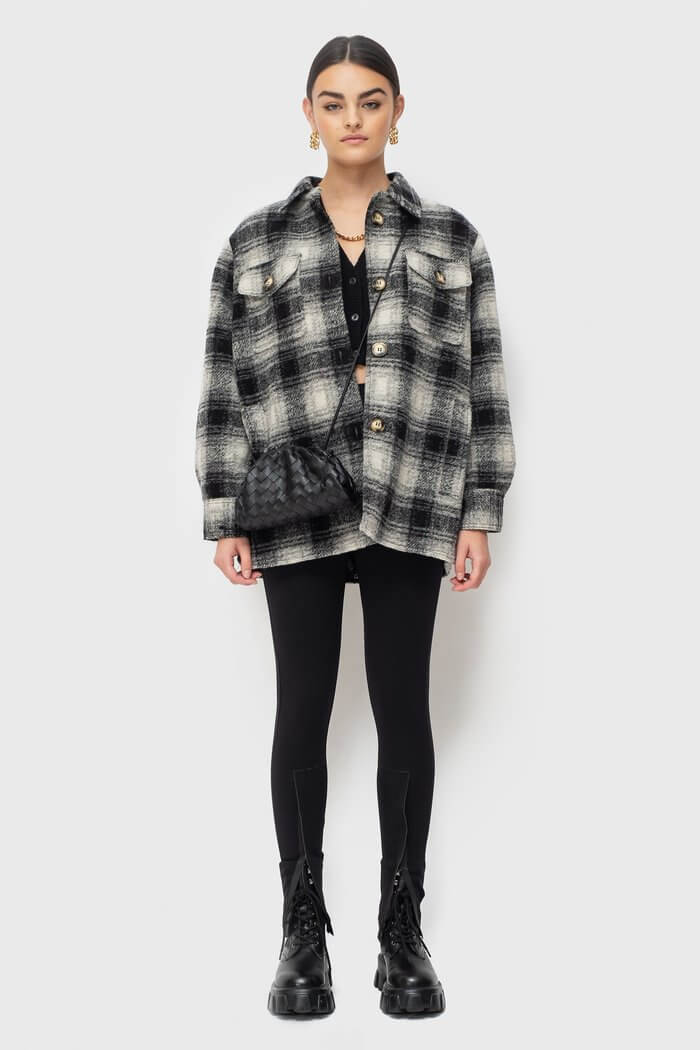 Ducie London Exclusive Check Oversize Shirt Short from The New Trend