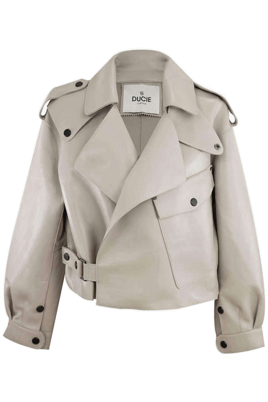 Ducie London Simi Crop Leather Jacket in Stone from The New Trend