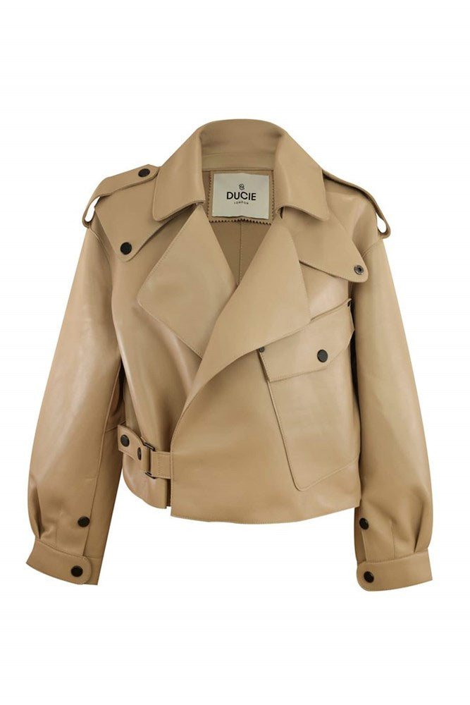 Ducie London Simi Leather Jacket in Beige from The New Trend