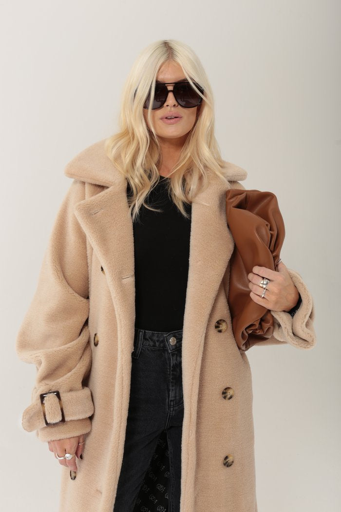 Ducie London Tamara Belted Wool Shearling Coat in Beige from The New Trend
