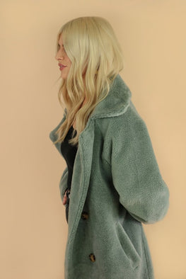 Ducie London Tamara Belted Wool Shearling Coat in Teal from The New Trend