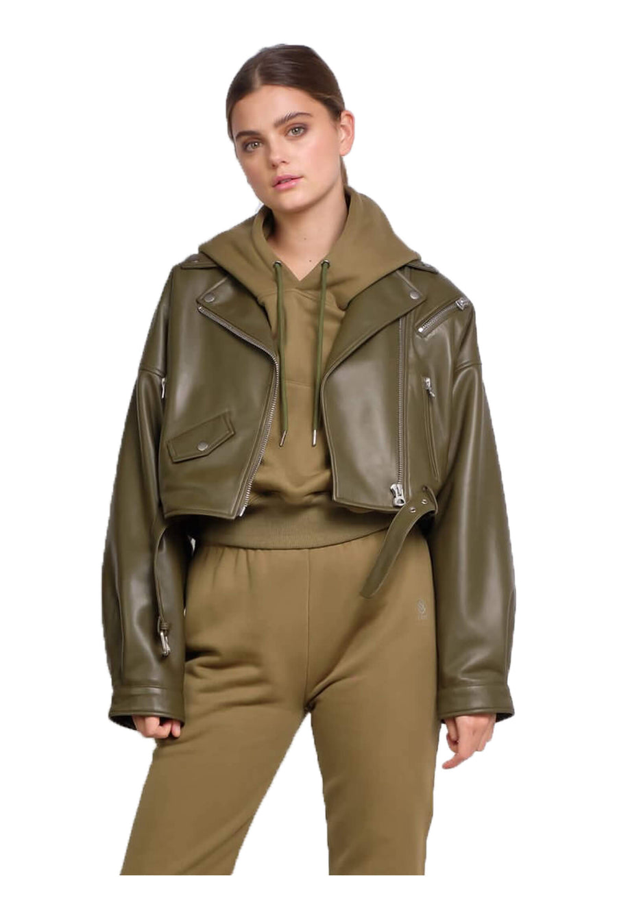 Ducie London Tanya Leather Jacket in Olive from The New Trend