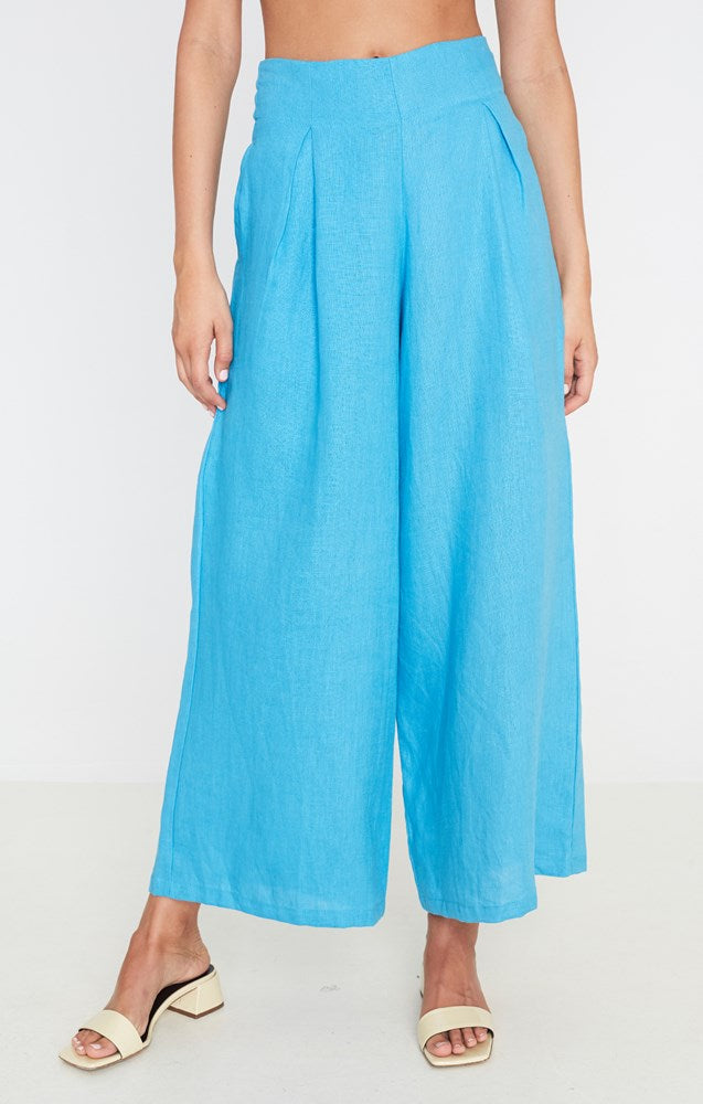 Faithfull The Brand Meridian Wide Leg Pants in Plain Blue Topaz from The New Trend