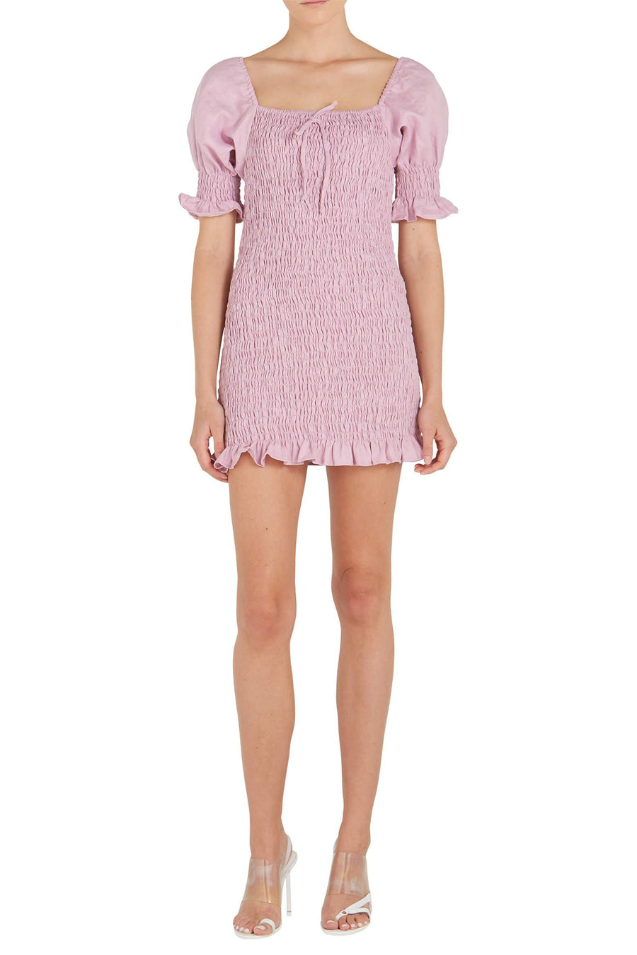 Faithfull The Brand Annibelis Mini Dress in Plain Iris from The New Trend