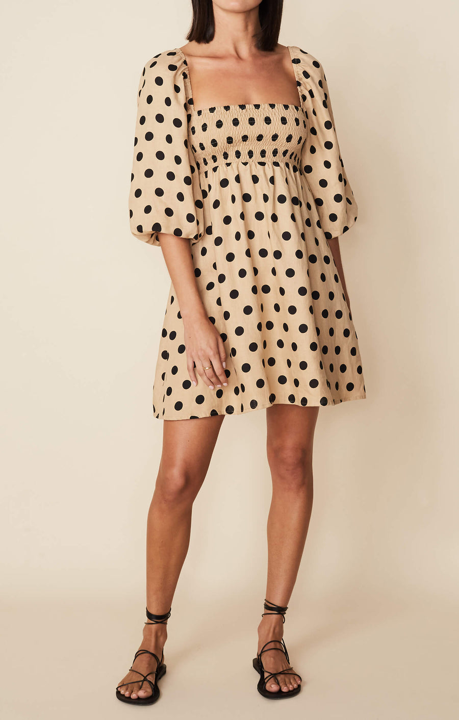 Faithfull The Brand Dallia Mini Dress in Emelda Dot Biscuit from The New Trend