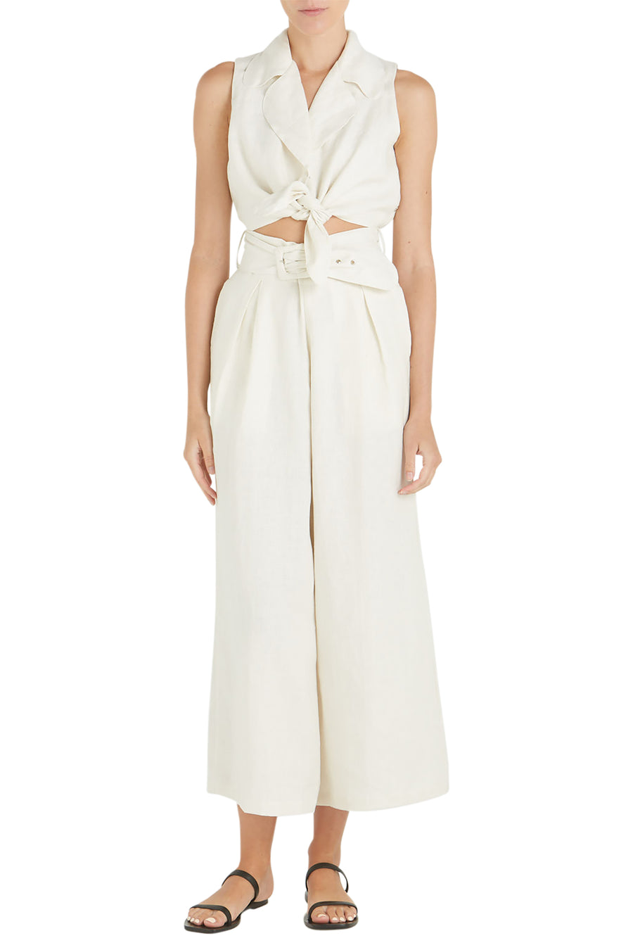 Lena Wide Leg Pants in Plain Egg White from The New Trend