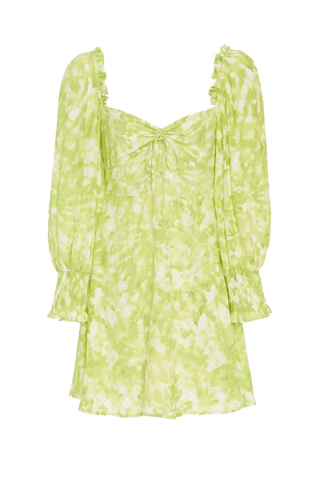 Faithfull The Brand Arianne Mini Dress in Roos Tie-Dye-Lime from The New Trend
